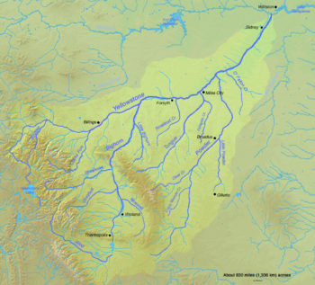 Map of the Yellowstone River watershed | Wikimedia CC