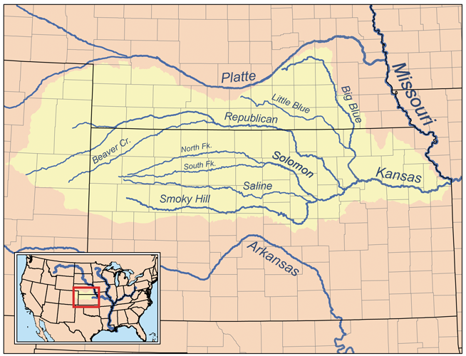 Map of the Kansas River drainage basin | Wikimedia Commons