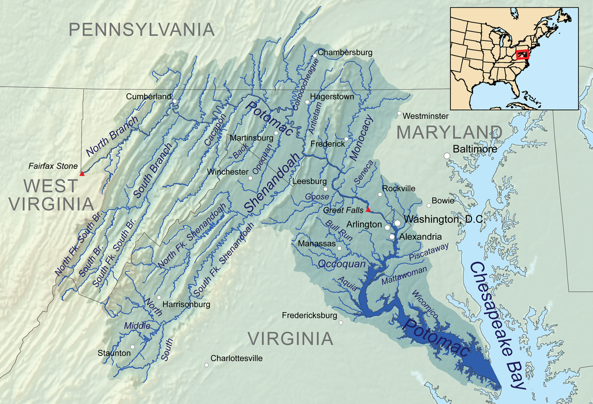 Chesapeake Bay On Map Of Usa.Potomac River American Rivers