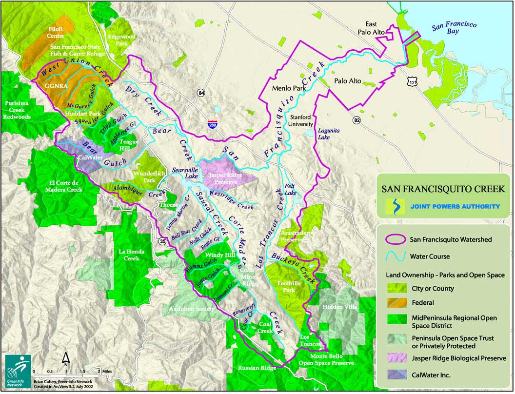 San Francisquito Creek Watershed with named tributaries. Courtesy of San Francisquito Creek Joint Powers Authority