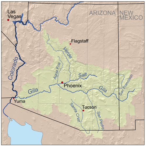 map of the gila river watershed wikimedia commons