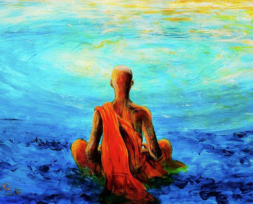 Meditation-MonkPaintingBlue