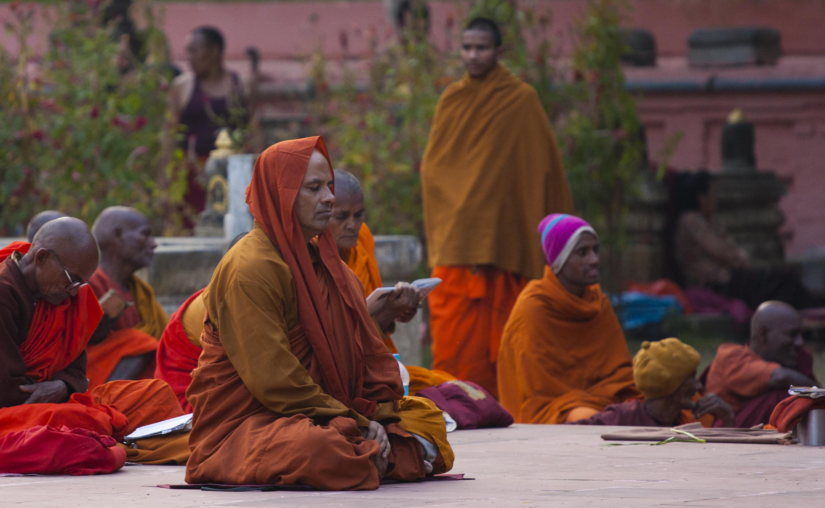 Meditating in Bodhgaya