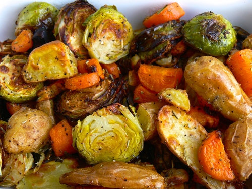 Garlic Roasted Roots & Spouts
