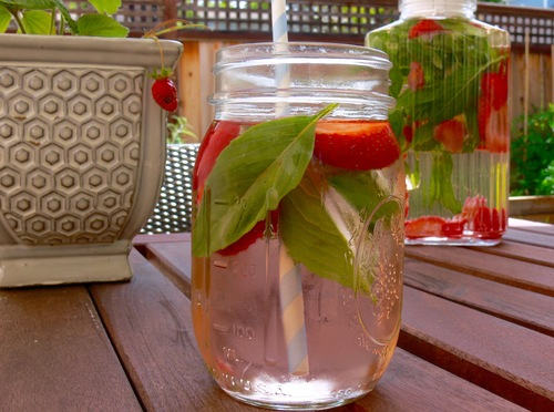 Basil Strawberry Water