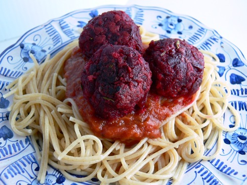 Spaghetti and Beet Balls