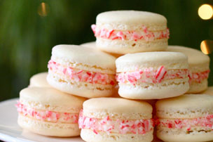 Candy Cane Macarons for a Virtual Holiday Party