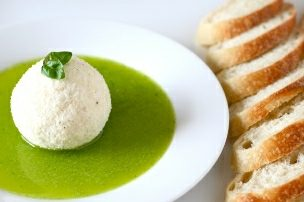 Parmesan Crusted Goat Cheese with Basil Oil