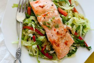 Ginger Garlic Salmon with Cabbage Salad