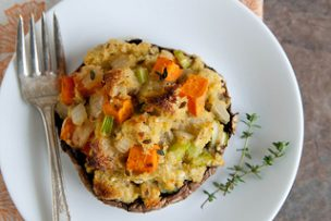 Portabellos with Herbed Stuffing and Sweet Potatoes