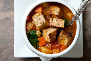Vegetable Soup with Garlicky Croutons