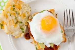 Jalapeño Cheddar Biscuits with Salsa, Avocado and Eggs