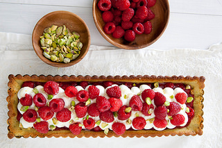 Raspberry Pistachio Honey Tart