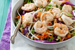 Pad Thai Salad with Ginger Lime Shrimp