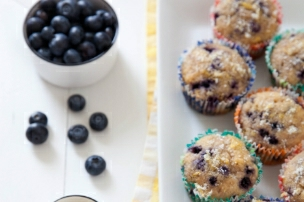Lightened Up Lemon Blueberry Muffins