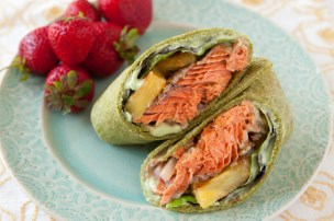 Spiced Salmon Wraps with Pineapple and Avocado Sauce