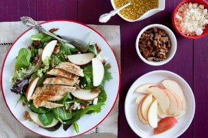 Harvest Apple Salad with Grilled Chicken and Candied Pecans
