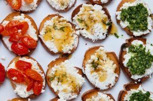 Trio of Crostini: Roasted Tomato, Herbed Honey, and Kale Pesto with Fresh Ricotta