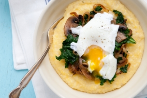 Polenta with Mushrooms, Kale, Caramelized Onion and Poached Egg