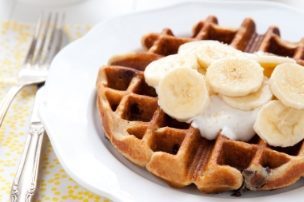 Peanut Butter Chocolate Waffles with Bananas and Honeyed Yogurt