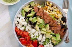 Mexican Chopped Salad with Chorizo, Avocado, and Cilantro Lime Dressing