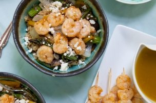 Grilled Shrimp and Veggie Quinoa Bowls with Garlic Mojo