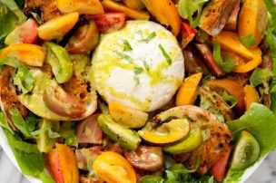 Farmer's Market Salad with Heirloom Tomatoes, Grilled Crostini and Burrata
