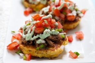 Corn Cakes with Beef Barbacoa and Cilantro Lime Cream Sauce