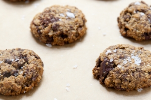 Salted Dark Chocolate Chunk Oatmeal Cookies