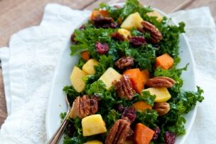 Harvest Kale Salad with Roasted Apple, Sweet Potato and Candied Pecans