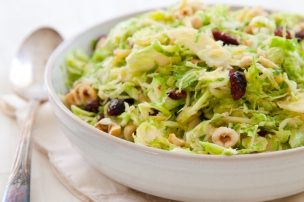 Shaved Brussels Sprouts Salad with Cranberries, Apples and Gouda