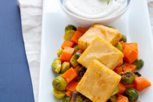 Chickpea Fritters with Roasted Winter Veggies and Garam Masala Yogurt Sauce