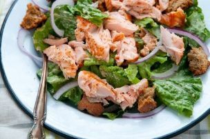 Salmon Salad with Cashew Caesar Dressing