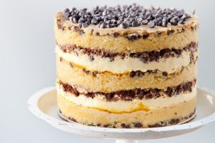Chocolate Chip Layer Cake with Passion Fruit Curd