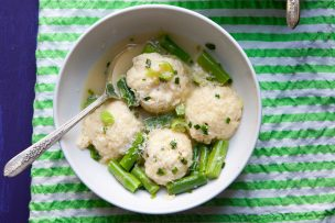 Ricotta Dumplings with Green Garlic and Asparagus