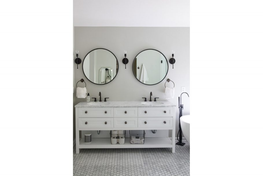 Mirrors + Sconces Break Up Monotony