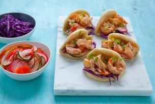 Shrimp Steam Buns with Pickled Veggies