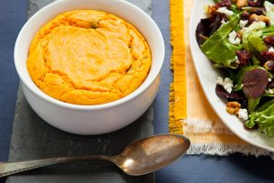 Sweet Potato Spoonbread with Smoked Gouda and Poblano