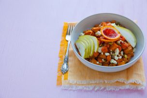 Roasted Sweet Potato Carrot Salad with Blood Orange Vinaigrette
