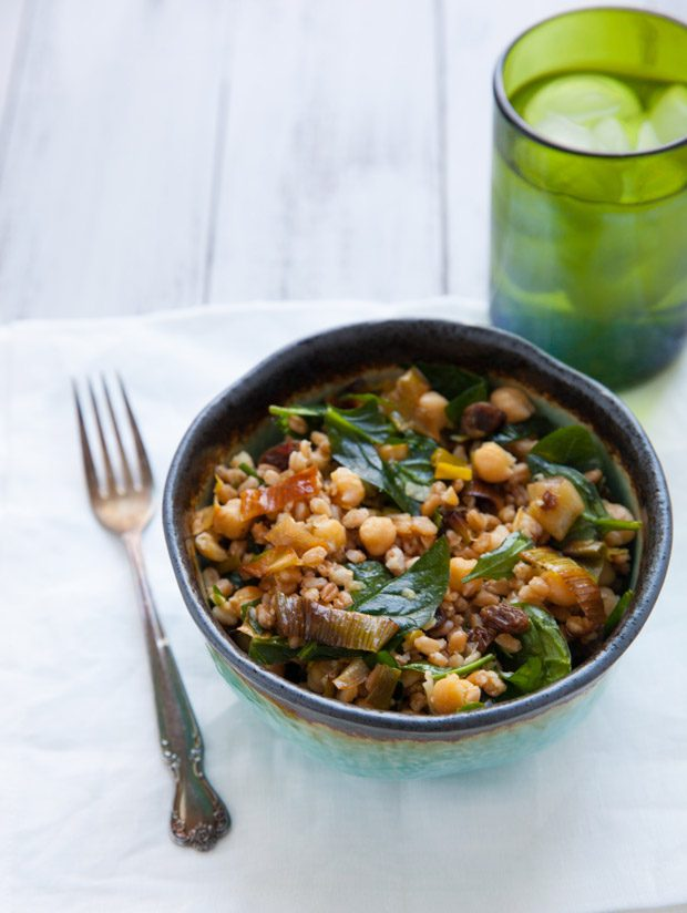 Farro with Crispy Leeks and Marinated Chickpeas