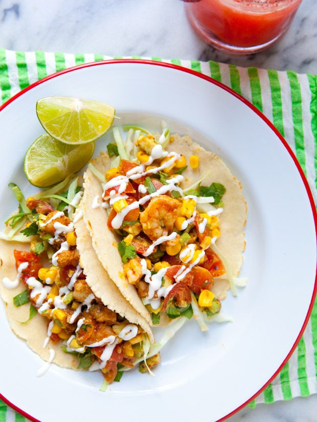 Chipotle Shrimp Tacos with Avocado, Corn and Tomato