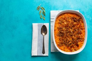 Sweet Potatoes with Sage Brown Butter Crumb Topping