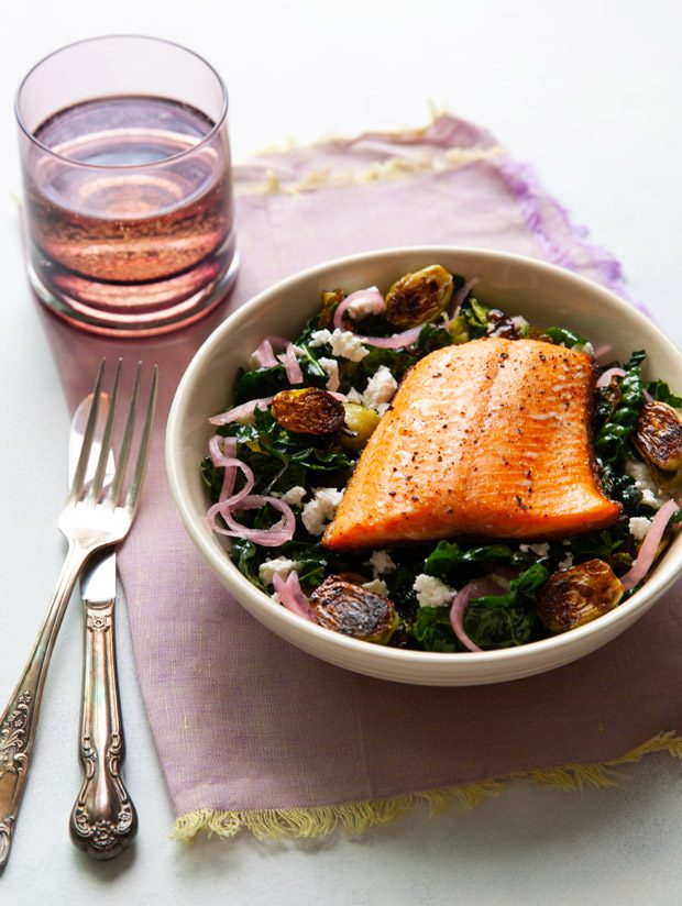 Kale and Brussels Sprouts Salad with Crispy-Skinned Fish