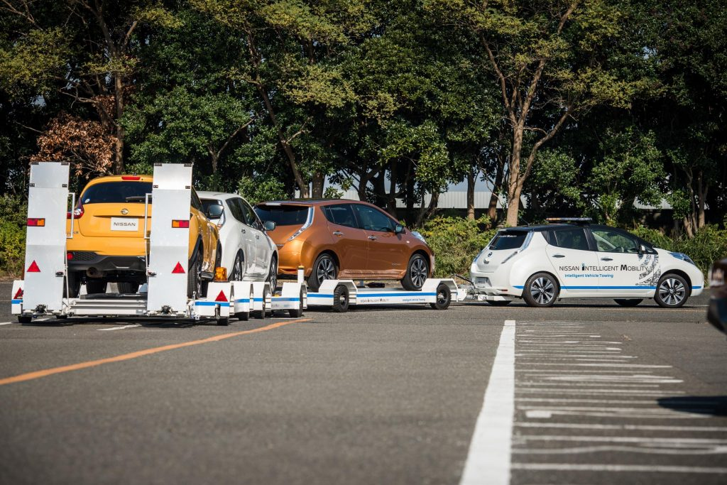 Nissan Leaf towing production plant