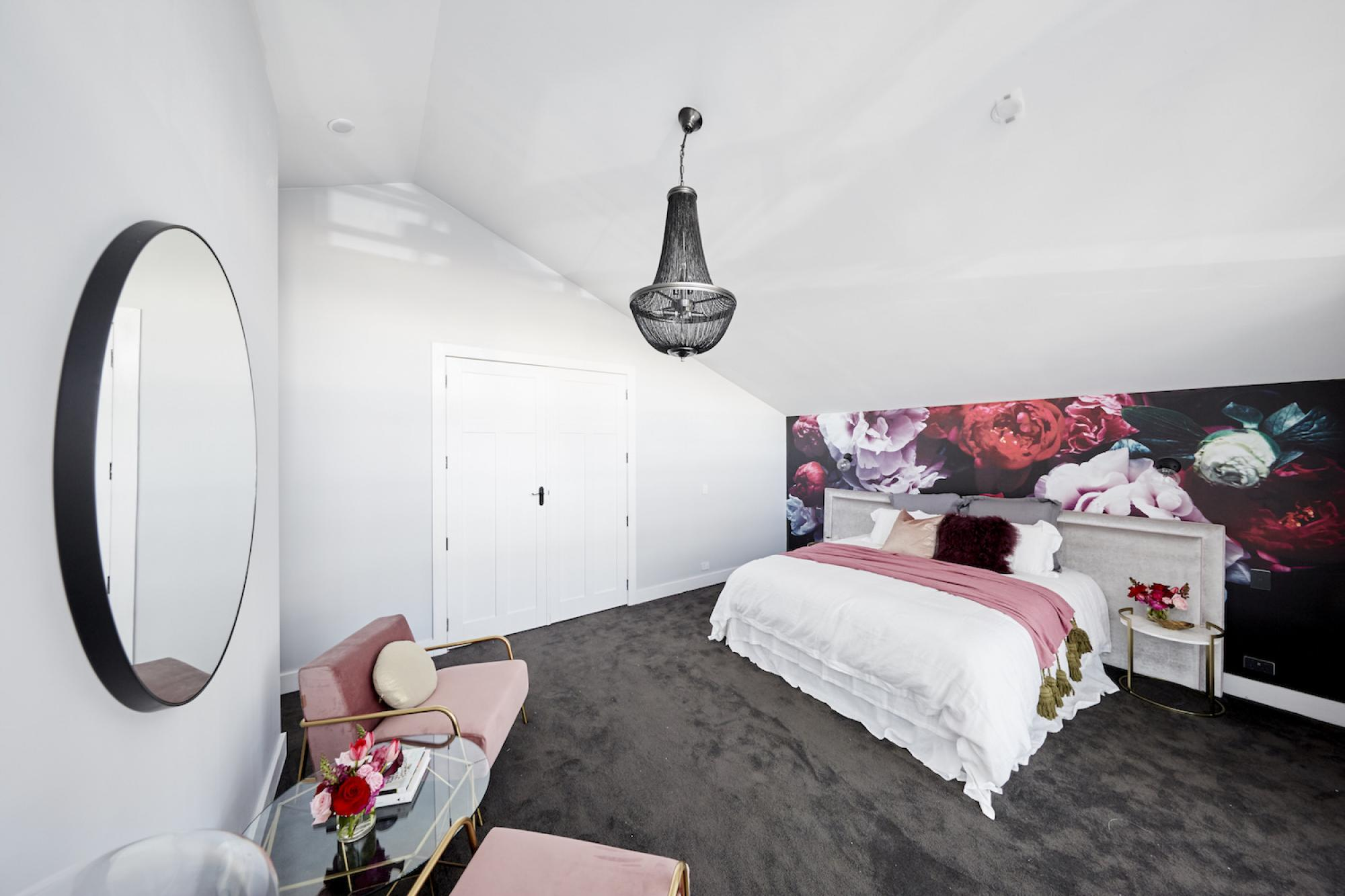 Floral Wall Paper in Modern Room