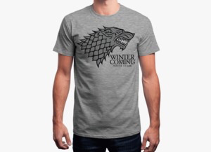 Game of thrones t shirt   winter is coming grey 1024