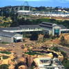 This aerial view of the Aquarium grounds from 1992 shows the early efforts to reclaim the land through naturalistic landscaping.