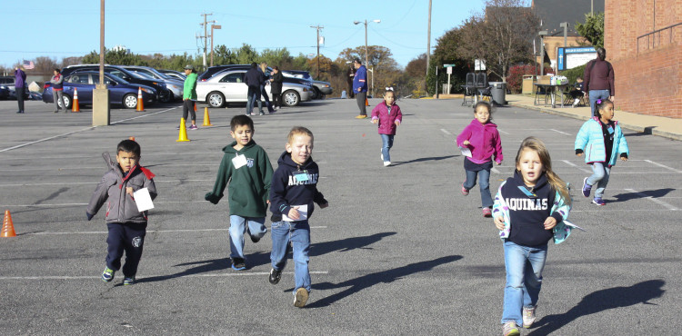 AM Pre-K students running
