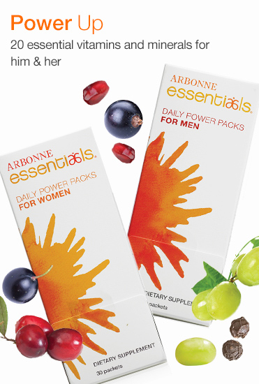Power Up. 20 essential vitamins and minerals for him & her.