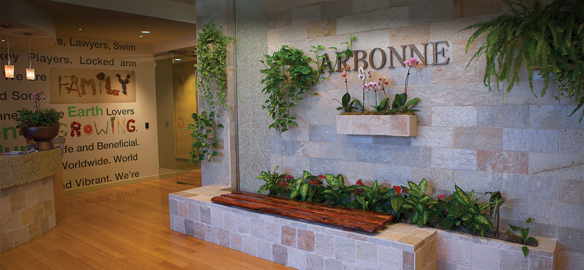 Lobby of Arbonne home office in Irvine, CA